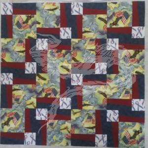 The eagle with flags fabric and the patriotic ribbon fabric were bought somewhere about the time of Desert Storm.