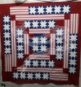 Back to building up my patriotic theme stack of quilt tops. Please note: that's 320 half-square triangles. Yes, I speed pieced them. However, the resulting squares still had to be put together.